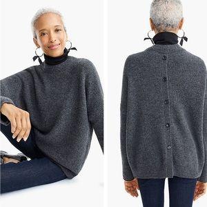 J crew point sur gray button back sweater